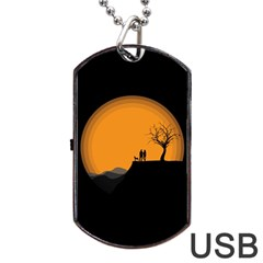Couple Dog View Clouds Tree Cliff Dog Tag Usb Flash (two Sides)