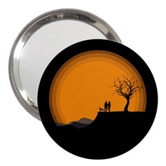 Couple Dog View Clouds Tree Cliff 3  Handbag Mirrors