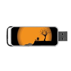 Couple Dog View Clouds Tree Cliff Portable Usb Flash (one Side)