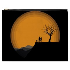 Couple Dog View Clouds Tree Cliff Cosmetic Bag (xxxl)