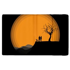 Couple Dog View Clouds Tree Cliff Apple Ipad 3/4 Flip Case by Nexatart