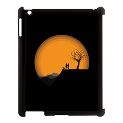 Couple Dog View Clouds Tree Cliff Apple Ipad 3/4 Case (black)