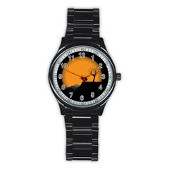 Couple Dog View Clouds Tree Cliff Stainless Steel Round Watch
