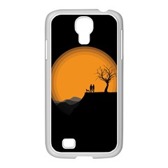 Couple Dog View Clouds Tree Cliff Samsung Galaxy S4 I9500/ I9505 Case (white)