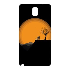 Couple Dog View Clouds Tree Cliff Samsung Galaxy Note 3 N9005 Hardshell Back Case