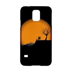 Couple Dog View Clouds Tree Cliff Samsung Galaxy S5 Hardshell Case