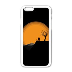 Couple Dog View Clouds Tree Cliff Apple Iphone 6/6s White Enamel Case