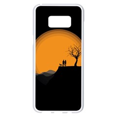 Couple Dog View Clouds Tree Cliff Samsung Galaxy S8 Plus White Seamless Case