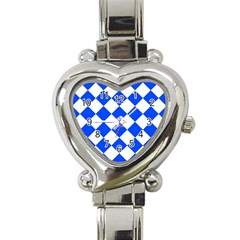 Blue White Diamonds Seamless Heart Italian Charm Watch