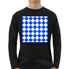 Blue White Diamonds Seamless Long Sleeve Dark T Shirts