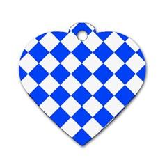 Blue White Diamonds Seamless Dog Tag Heart (one Side) by Nexatart