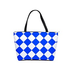 Blue White Diamonds Seamless Shoulder Handbags