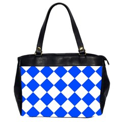 Blue White Diamonds Seamless Office Handbags (2 Sides)