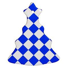 Blue White Diamonds Seamless Christmas Tree Ornament (two Sides)