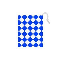 Blue White Diamonds Seamless Drawstring Pouches (xs)
