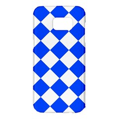 Blue White Diamonds Seamless Samsung Galaxy S7 Edge Hardshell Case by Nexatart