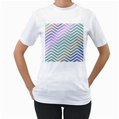 Zigzag Line Pattern Zig Zag Women s T Shirt (white) (two Sided)