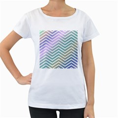 Zigzag Line Pattern Zig Zag Women s Loose Fit T Shirt (white)