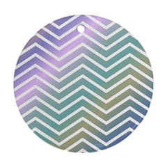 Zigzag Line Pattern Zig Zag Round Ornament (two Sides)