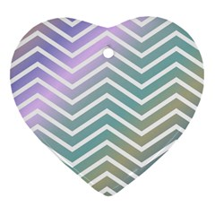 Zigzag Line Pattern Zig Zag Heart Ornament (two Sides)
