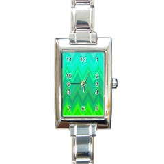 Green Zig Zag Chevron Classic Pattern Rectangle Italian Charm Watch