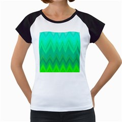 Green Zig Zag Chevron Classic Pattern Women s Cap Sleeve T