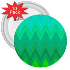 Green Zig Zag Chevron Classic Pattern 3  Buttons (10 Pack)