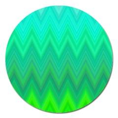 Green Zig Zag Chevron Classic Pattern Magnet 5  (round) by Nexatart
