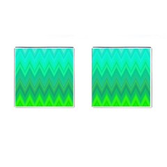 Green Zig Zag Chevron Classic Pattern Cufflinks (square)