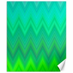 Green Zig Zag Chevron Classic Pattern Canvas 8  X 10