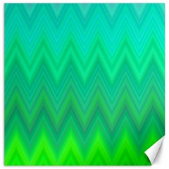Green Zig Zag Chevron Classic Pattern Canvas 12  X 12