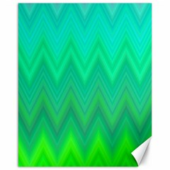 Green Zig Zag Chevron Classic Pattern Canvas 16  X 20