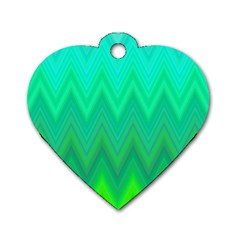 Green Zig Zag Chevron Classic Pattern Dog Tag Heart (one Side)