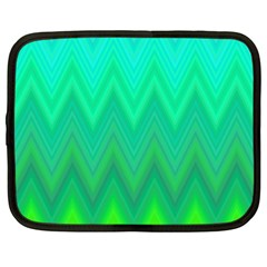 Green Zig Zag Chevron Classic Pattern Netbook Case (large)
