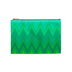 Green Zig Zag Chevron Classic Pattern Cosmetic Bag (medium)