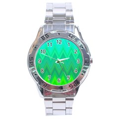 Green Zig Zag Chevron Classic Pattern Stainless Steel Analogue Watch by Nexatart