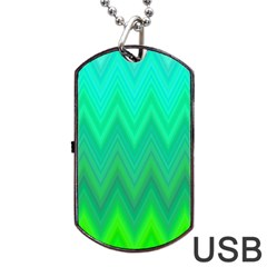 Green Zig Zag Chevron Classic Pattern Dog Tag Usb Flash (two Sides)