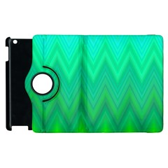 Green Zig Zag Chevron Classic Pattern Apple Ipad 2 Flip 360 Case by Nexatart