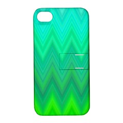 Green Zig Zag Chevron Classic Pattern Apple Iphone 4/4s Hardshell Case With Stand