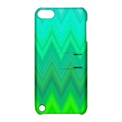 Green Zig Zag Chevron Classic Pattern Apple Ipod Touch 5 Hardshell Case With Stand