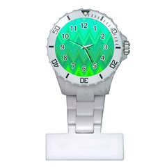 Green Zig Zag Chevron Classic Pattern Plastic Nurses Watch
