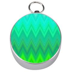 Green Zig Zag Chevron Classic Pattern Silver Compasses