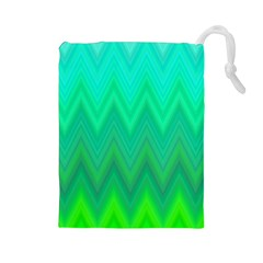Green Zig Zag Chevron Classic Pattern Drawstring Pouches (large)  by Nexatart