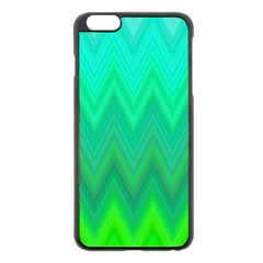 Green Zig Zag Chevron Classic Pattern Apple Iphone 6 Plus/6s Plus Black Enamel Case by Nexatart