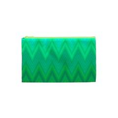 Green Zig Zag Chevron Classic Pattern Cosmetic Bag (xs) by Nexatart