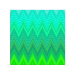 Green Zig Zag Chevron Classic Pattern Small Satin Scarf (square)
