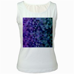 Triangle Tile Mosaic Pattern Women s White Tank Top