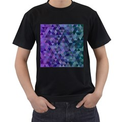 Triangle Tile Mosaic Pattern Men s T Shirt (black) (two Sided)