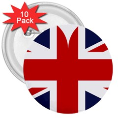 Uk Flag United Kingdom 3  Buttons (10 Pack)