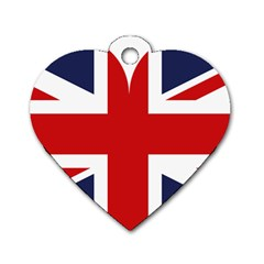 Uk Flag United Kingdom Dog Tag Heart (one Side)